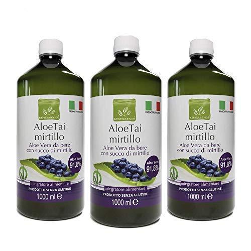 Benessence - Succo di Aloe Vera e Mirtillo - Prodotto Italiano (AloeTai Mirtillo, 1L x 3 Bottles)