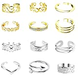 ONESING 12 Pcs Toe Rings for Women Open Tail Ring Daisy Adjustable Toe Ring Foot Jewelry...
