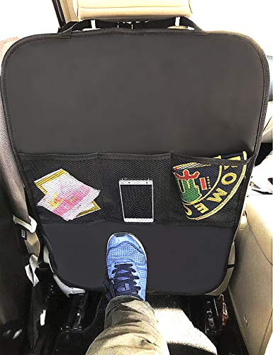 Heavy Duty Kick Mats Back Seat Protector - Waterproof Backseat Organizer with 3 Reinforced Mesh Storage Pockets - Auto Backseat Covers for Car, SUV, Auto and Child Safety Seat Accessories