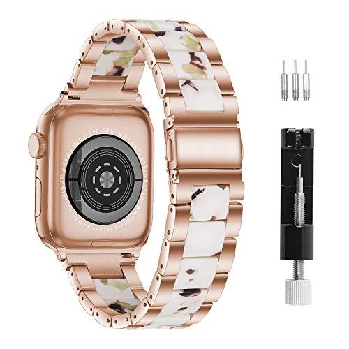 Correa De Reloj, Compatible Con Apple Watch Correa De 38mm-40 Mm Series 6/5/4/3/2/1, Correa De Resina De Apple, Hebillas De Acero Inoxidable Para Hombres Y Mujeres (38mm/40mm, Color Blanco TurróN)