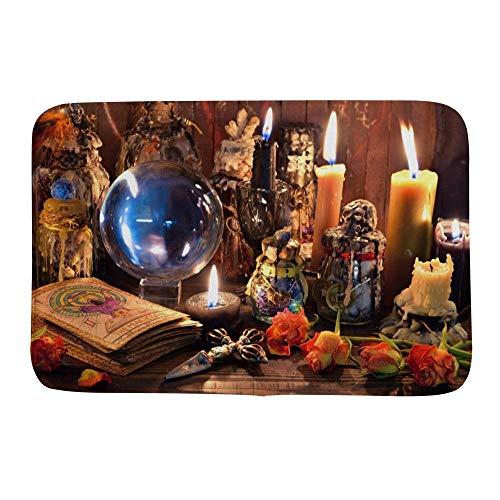 Alfombra de baño Kuizee alfombra de baño alfombra alfombra de baño piso tarot tarjetas velas esotéricas mágicas místicas alfombra...