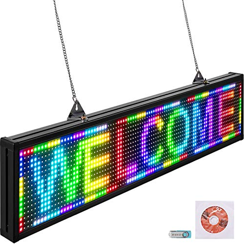 VEVOR Led Sign 38 x 6.5 Digital Sign 96 x 16 HD Resolution Full Color P10 Indoor Led Message Board Digital Display Board Electronic Scrolling Led Sign Programmable by PC & Wi-Fi & USB for Advertising