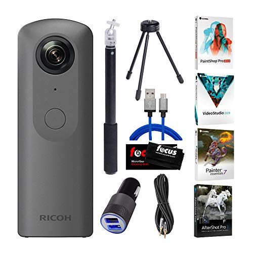 Ricoh Theta V 360-Degree Spherical 4K HD Digital Camera with Ricoh Selfie Stick, Video Editing Software Bundle