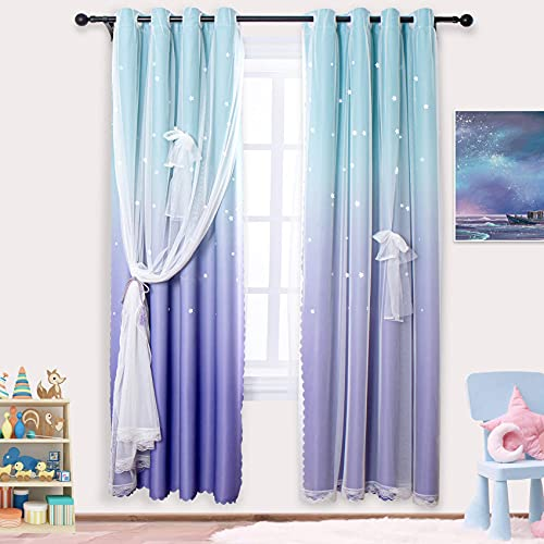 ARTBECK Star Curtains Kids Curtains for Girls Bedroom Living Room Rainbow Ombre Blackout Curtain Double Layer Tulle Star Cut Out Gradient Grommet Window Curtains (1 Pc | 52W x 63L, Teal Purple)