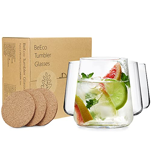 BeEco Vasos de Agua 370ml | Vasos de Jugo | Producto Ecológico | Juego de 4 | Con posavasos de corcho natural | 100% Reciclable