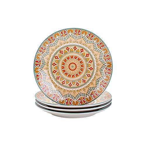 vancasso Serie Mandala Vajilla Porcelana Juego de 4 Platos de Postre 21cm Pintado a Mano Platos Planos Redondos Amarillo