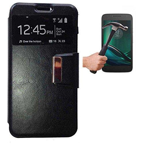 Todobarato24h Funda Libro Ventana Negra Motorola Moto G4 Plus + Protector DE Cristal Templado