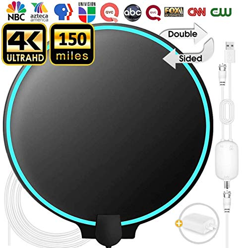 Updated 2020 Best TV Antenna for Digital TV Indoor, 90-150Miles Amplified Digital TV Antenna Indoor, Black&White Double-Sided 4K HD TV Antenna Long Range with Amplifier Signal Booster