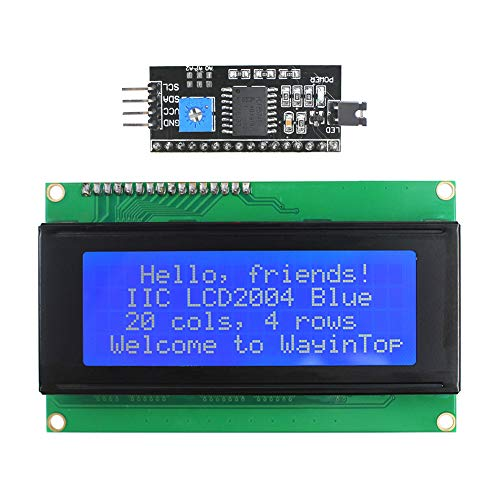 WayinTop 20x4 2004 LCD Display Zeichen Bildschirm mit TWI IIC I2C LCD Schnittstelle Adapter für Arduino für Mega 2560 (Blau/2004)