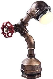 SMEJS Retro lámpara de Escritorio luz de Estilo Antiguo de la Vendimia Industrial Base de Madera con Hierro tuberías lám...