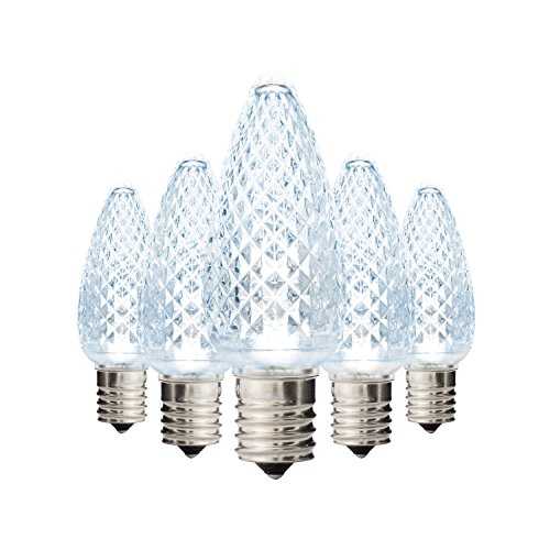 Holiday Lighting Outlet Faceted C9 Christmas Lights   Cool White LED Light Bulbs Holiday Decoration   Warm Christmas Decor for Indoor & Outdoor Use   3 SMD LEDs in Each Light Bulb   Set of 25