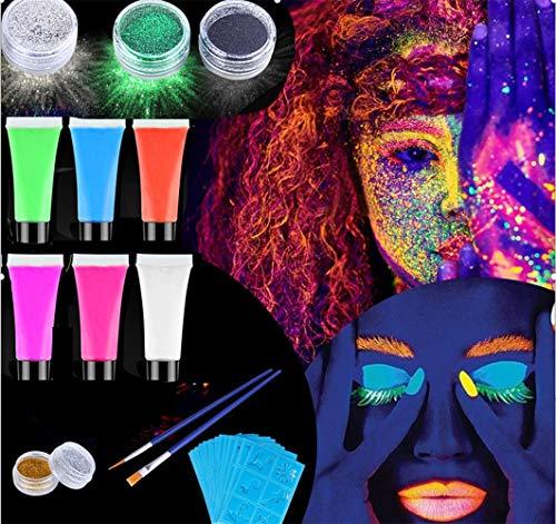Emooqi Pascua de Resurrección Pintura Facial Maquillaje, Pintura Facial Corporal/Pinturas Corporales y Cara,8 Colores,6 Colores de Neón UV ,4 Purpurina,30 Plantillas,3 Pinceles,Lavable y Segura