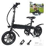 Magic Vida Vélo Électrique Pliable Noir 14' - Moteur 250W - Distance 40KM - Vitesse Max 25KM/H - Batterie 7.5Ah 36V - 15.5KG - Écran LCD - LED - Siège réglable - VTC pour Enfants Adultes
