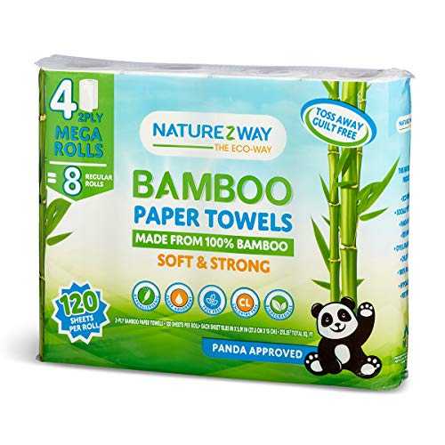 Naturezway Bamboo Disposable Towel   Mega 4 pack   2 Ply   120 ct   Tree Free  