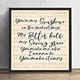 kalistamao Wall Art Painting -You Make It Easy Lyrics Portrait Poster Print, Decorated Office and Cafe 8x8in with Frame