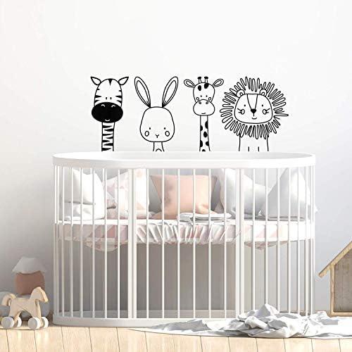 Set of 4 Vinyl Wall Art Decal Zebra Rabbit Giraffe Lion 17 x 44 Cute Modern Design for Animal product image