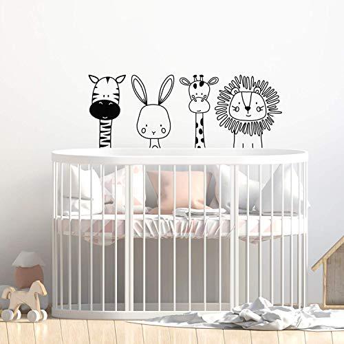 Set of 4 Vinyl Wall Art Decal - Zebra Rabbit Giraffe Lion - 17' x 44' - Cute Modern Design for Animal Lovers Home Apartment Bedroom Window Playroom Classroom Nursery Indoor Decoration
