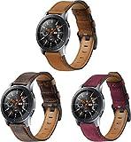 Cinturino per Orologio compatibile con Galaxy Watch 46mm / Watch 3 45mm / Gear Live, Ricambio In Vera Pelle Con Fibbia In Acciaio Inossidabile Adatto Per Orologi (22mm, 3PCS B)
