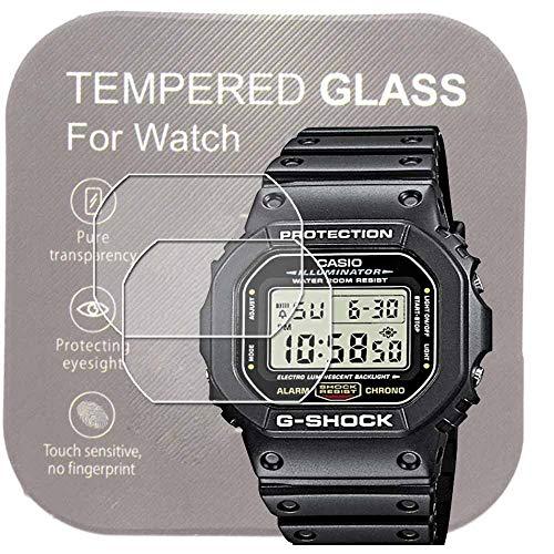 [2枚入り]For CASIO腕時計DW-5600用9H強化ガラスフィルム 高い透明度 傷を防ぎ耐久性あり 手入れしやすい 液晶保護フィルム 2.5Dカーブ
