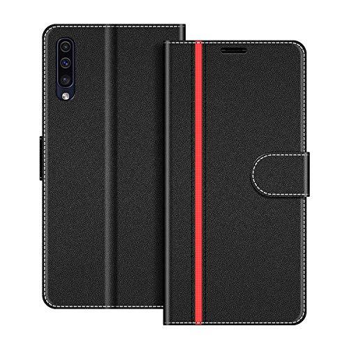 COODIO Handyhülle für Samsung Galaxy A50 Handy Hülle, Samsung Galaxy A50 Hülle Leder Handytasche für Samsung Galaxy A50 Klapphülle Tasche, Schwarz/Rot