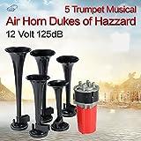 Dixie Car Duke of Hazzard - 5 bocinas musicales negras de 125 DB y compresor de bocina de aire de 12 V