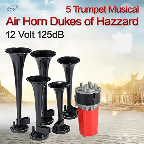 Set di 5 clacson musicali ad aria per auto, a forma di tromba, da 125 dB, suonano la melodia Dixie come in Duke of Hazzard + compressore da 12V