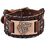 GelConnie Viking Bracelet Punk Leather Cuff Bracelet Gothic Leather Wristband Bracelet with Nordic Amulet Scandinavian Talisman Celtic Pagan Jewelry