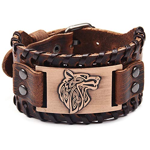 GelConnie Viking Bracelet Wolf Head Punk Leather Cuff Bracelet Gothic Leather Wristband Bracelet with Nordic Amulet Scandinavian Talisman Celtic Pagan Jewelry