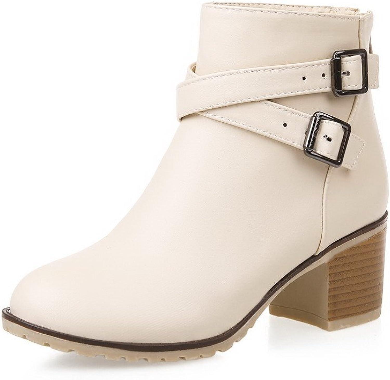 AllhqFashion Women's Pu Kitten Heels Round Closed Toe Solid Zipper Boots