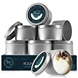 Hearth & Harbor Tin Candle Jars for Making Candles, Candle Tins 8 Oz, Candle Containers for Making Candles, Empty Candle Tins with Lids Set of 12