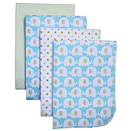 Carter's 4 Piece Flannel Receiving Blankets, Monkeys/Brown/Green/White