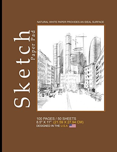 Sketch Paper Pad -Brown,City Cover: 8.5' x 11' (21.59 x 27.94 cm)(Sketchbooks & Sketch Pads), 100 Pages, 50 sheets, Soft Durable Matte Cover