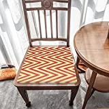 Cojín de asiento para silla, espuma viscoelástica, rayas simétricas de polilínea rojas, amarillas, cojines de asiento para oficina, hogar o asiento de coche