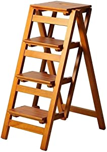 Wtbew-u Folding Steps Solid Wood Ladder  Steps Stairway Chair For Child Adult 150kg Capacity