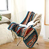 WCNMD Super Soft Retro Flannel Fleece Sherpa Bohemian Couch Throw Blanket For Sofa Portable Car Travel Cover Blanket,Blue,127x152cm