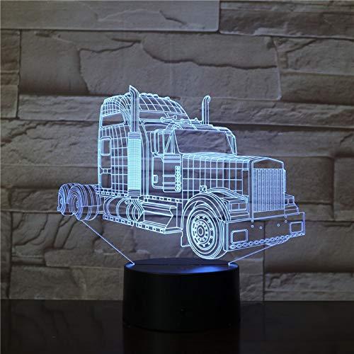 Die Truck Head 3D Tischlampe Kinder Spielzeug Geschenk betrieben Modern Prize Mehrfarbig mit Fernbedienung LED Nachtlicht Einzigartige Dekoration Innen