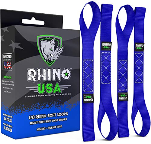 Rhino USA Soft Loop Motorcycle Tie-Down Straps (4PK) - 10,427lb Max Break Strength 1.7 x 17 Heavy-Duty Tie Downs for use w/Ratchet Strap - Secure Trailering of Motorcycles, Kayak, ATV, UTV (BLUE)