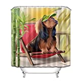 N/A La butaca de bambú, el Perro de compañía, la Cortina de Ducha Linda de la privacidad de la protección, la Cortina de Ducha Impresa es fácil Quitar