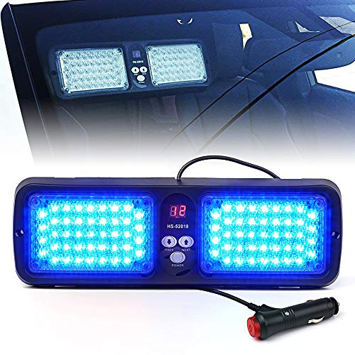 Xprite Blue 86 LED SunShield Sun Visor Emergency Strobe Lights 12 Flash Modes Hazard Police Warning Light for Law Enforcement Vehicle
