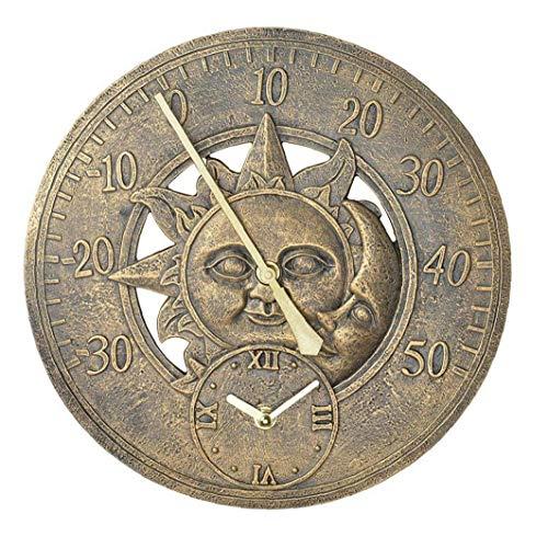 MICHAELA BLAKE Garten-Thermometer-Taktgeber im Freien Weinlese-Wand-Station Clock Dekorative Retro hängende Uhr Sonne & Mond Wand Thermometer
