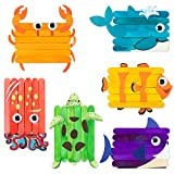 WATINC 6Pcs Ocean WoodenSticks Craft Under The Sea DIY Art Crafts Kit for Kids Creative Handmade Project Supplies with Googly Eyes Animals Birthday Gift Home Classroom Activity Games for Boys Girls
