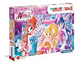 Clementoni–23724–Supercolor Puzzle–Winx–104Maxi Unidades, Multicolor