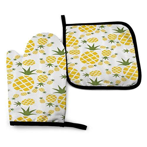 nonebrand Pineapple Piktogramm Unisex Ofenhandschuhe und Topflappen-Sets, Isolierhandschuhe, hitzebeständig für Küche, Kochen, Backen, Grillen usw.