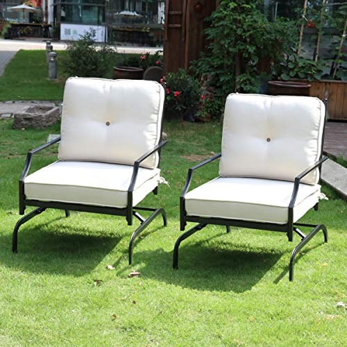 Rocking Patio Chairs Outdoor Set of 2, Metal Patio Furniture with Elasticity Seat Cushions and Black Metal Frame Patio Bistro Dining Chairs Sets for Bistro Lawn, Garden, Backyard, Beige