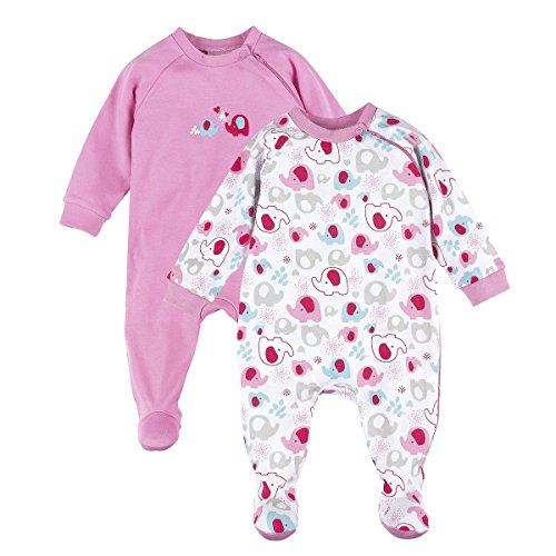 Bornino Bornino Schlafoverall (2er-Pack)- Baby-Pyjama mit seitlichem Reißverschluss - Schlafanzug aus Reiner Baumwolle - einfarbig/Gemustert