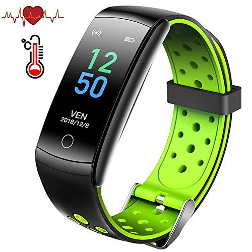 Masskko Temperatur Smartwatch Fitness Armband Tracker mit Pulsuhren IP68 Wasserdicht Sport Uhr Aktivitätstracker Fitness Uhr Schlafmonitor schrittzähler Smartwatch für iOS Android,Grün