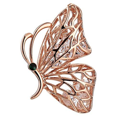 AnazoZ Joyería de Moda 1 Pcs Broche Broche Mujer Broche Acero Inoxidable Broche Mariposa Broche Oro Rosa