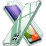ivoler Funda para Samsung Galaxy A22 4G con 3 Unidades Cristal Templado, Carcasa Protectora Anti-Choque Transparente, Suave TPU Silicona Caso Delgada Anti-arañazos Case