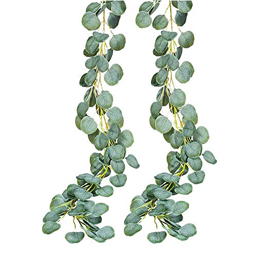 INPHER Artificial Eucalyptus 2 Pack Eucalyptus Greenery Garland Holiday Decoration Faux Vines Leaves Plants Garden Decorations for Wedding Bridal Shower Party Festival Backdrops Outdoor Christmas