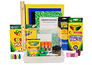 Take one hassle out of back to school shopping with a School Supply Box filled with everything your elementary student needs. This supply kit contains (1) plastic pencil box, (1) 10pk of Crayola Markers, (1) 24pk of Crayola Crayons, (1) 12pk of color...